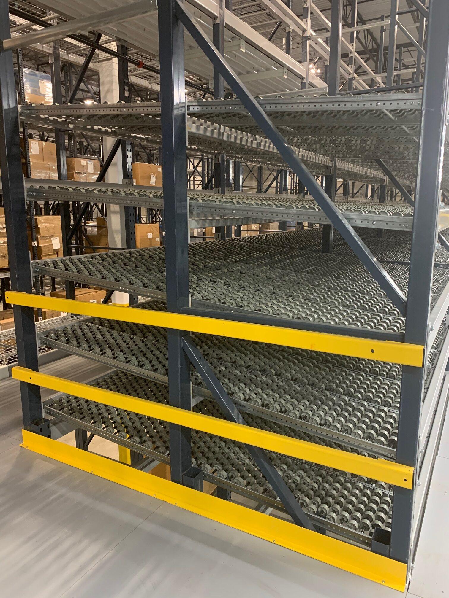 Side View of Dura-Flex Carton Flow Shelves